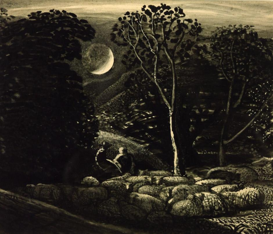 Moonlight, a Landscape with Sheep c.1831-3 by Samuel Palmer 1805-1881